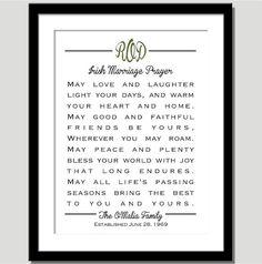 Monogram Irish Marriage Prayer  Great Wedding by CoCoStineDesigns, $15.00