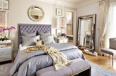 Eclectic Bedroom Design with Feminine Purple Bedding Sets and Round Mirror Having a Lively Bedroom Designs with Feminine Bedding Sets