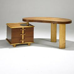 Paul Frankl; Teak, Birch, Leather and Brass Desk for Johnson Furniture, 1940s.