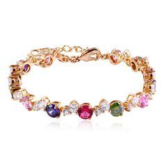 Multicolor Rhinestone-Encrusted Link Bracelet