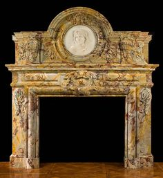 A rare and impressive Sarrancolin Opera Marble chimneypiece in the Baroque… Fireplace Hearth, Stove Fireplace, Fireplace Surrounds, Fireplace Design, Fireplace Ideas, Baroque, Vintage Stoves, Light My Fire, Architectural Antiques