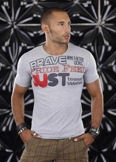 T-shirt Homme gris Hip Hop BRAVE moulant Fashion par UnCadeauUnSourire.com