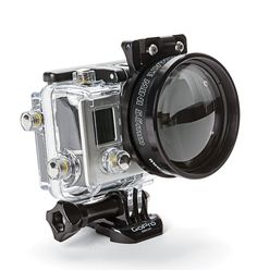 BACKSCATTER MACROMATE MINI FOR GOPRO Now you can get really close to the action with Backscatter's new macro lens for GoPro cameras. Made with an aluminum frame and precision optical glass, the Macromate Mini threads onto Backscatter's 55mm FLIP 3.1 adapter, which lets you easily change lenses and filters underwater.