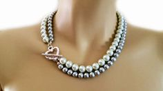 White Grey Double Pearl Wedding Necklace por PearlJewelryNecklace, $42.00