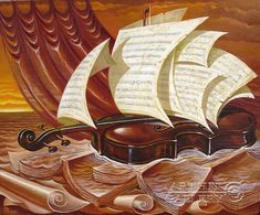 ''Скрипичное море''.  Приведенцев Геннадий. Продажа картин, предметов декоративно-прикладного искусства