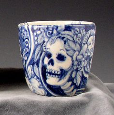 blue and white skeleton cup by PSPorcelain on Etsy Blue And White China, Skull And Bones, Memento Mori, Skull Art, Tea Set, Crane, Tea Party, Tea Cups, Creations