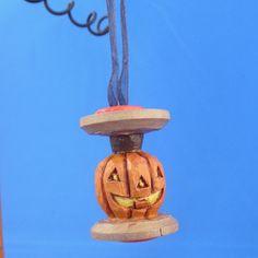 Hand Carved Pumpkin in Vintage Thread Spool  by AmericanCarver, $16.00