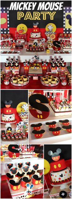 So many great details at this classic Mickey party! See more party ideas at… Mickey Mouse Theme Party, Fiesta Mickey Mouse, Mickey Mouse Baby Shower, Mickey Mouse Clubhouse Birthday Party, Mickey 1st Birthdays, Mickey Mouse 1st Birthday, 1st Boy Birthday, 1st Birthday Parties, Mickey Mouse Desserts
