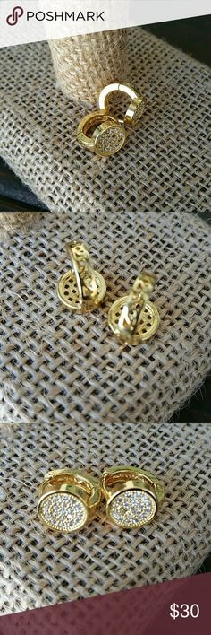 Sterling silver CZ small paved CZ hoops Beautiful piece, CZ paved sterling silver covered in 18k gold plated, the quality of this piece is amazing. A classic,  minimal piece that can make the perfect present. ****Now you can make an offer on bundles, make the most out of the shipping cost *** Jewelry Earrings