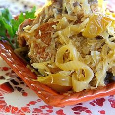 "Slow Cooker Pork and Sauerkraut with Apples I ""Loved it! The pork chops were so tender and the apples were a good contrast to the sauerkraut."""