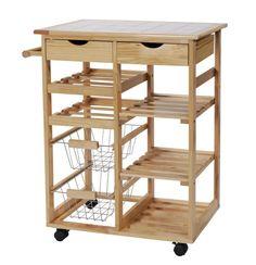 Pine Tile-top Kitchen Trolley