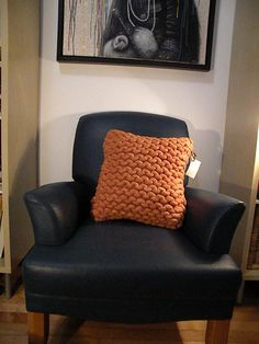 Giant handknit Cushion cover Pillow super CHUNKY by DorisetSimone, $65.00 Cushions, Pillows, Hand Knitting, Pillow Covers, Accent Chairs, Armchair, Furniture, Home Decor, Throw Pillows