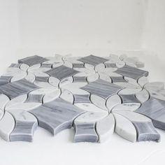 Badiglio Gray & Carrara White Polished Marble | Blossom Waterjet Tile #luxurybathrooms