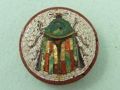 Italian Mosaic Brooch   ... MOSAIC BEETLE BUTTON ITALIAN PIN GRAND TOUR MOTH INSECT BROOCH   eBay