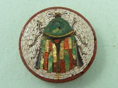 Italian Mosaic Brooch | ... MOSAIC BEETLE BUTTON ITALIAN PIN GRAND TOUR MOTH INSECT BROOCH | eBay