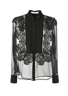 Givenchy Tops :: Givenchy black silk and lace transparent black top | Montaigne Market