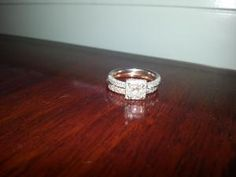 White gold wedding ring with apx Carat center stone. Small Diamonds go halfway around the band. Wedding band is rose gold, with diamonds going halfway around the band. Wedding Sets, Wedding Bands, Wedding Day, My Prince Charming, White Gold Wedding Rings, Girls Best Friend, Lazy, Boards, Rose Gold
