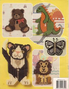 Delightful Light Switch Covers By Annie's Attic Vintage Plastic Canvas Pattern Leaflet 1993 Plastic Canvas Books, Plastic Canvas Crafts, Plastic Canvas Patterns, Baby Afghan Crochet Patterns, Needlepoint Patterns, Switch Plate Covers, Light Switch Covers, Switch Plates, Dinosaur Light