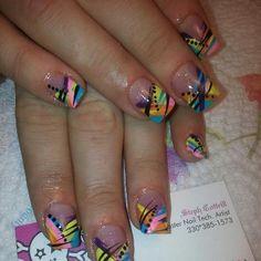 Day 16: Abstract Rainbow Nail Art