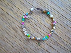 Tiny bee pathway bracelet natural colourful earthy by Sydnejo, $27.00