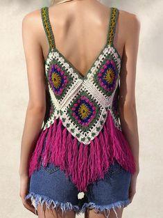 Fabulous Crochet a Little Black Crochet Dress Ideas. Georgeous Crochet a Little Black Crochet Dress Ideas. Crochet Cami Tops, Bikini Crochet, Crochet Summer Tops, Crochet Blouse, Knit Crochet, Hippie Crochet, Crochet Granny, Black Crochet Dress, Crochet Bodycon Dresses