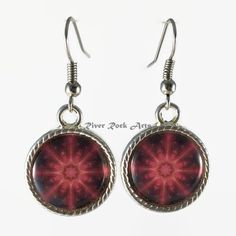 Bronze Medallion Silver-Plated, Rope-Edged Art Earrings by RiverRockArts