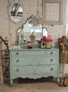 Painted Cottage Chic Shabby Aqua French Dresser by paintedcottages, $425.00