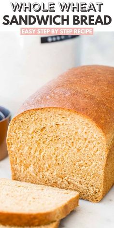 This Whole Wheat Bread is made with whole wheat flour and your favorite natural sweetener. A soft and fluffy sandwich bread that stays fresh for days! Whole Wheat Sandwich Bread Recipe, Soft Bread Recipe, 100 Whole Wheat Bread, Sandwich Bread Recipes, Banana Bread Recipes, White Whole Wheat Bread Recipe, Wheat Flour Bread Recipe, White Bread, Bread Bun