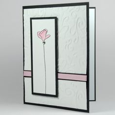 Pink, Black And White Single Flower Any Occasion Handmade Card | cardsbylibe - Cards on ArtFire