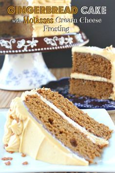 Gingerbread Cake with Molasses Cream Cheese Frosting - This gingerbread cake is full of delicious molasses flavor in every bite! Holiday Baking, Christmas Desserts, Christmas Baking, Christmas Time, Christmas Ideas, Cupcake Recipes, Cupcake Cakes, Dessert Recipes, Appetizer Recipes