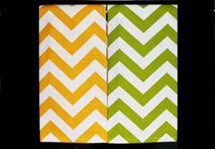 Yellow and Chartreuse Chevron Kitchen or Hand by DesignsByThem