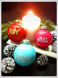 DIY Painted Ornaments | DIY Christmas ornament - just need paint, stickers ... | Christmas cr ...