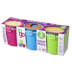 Sistema To Go Plastic Soup Mugs 656ml, Assorted Colours 3 per pack