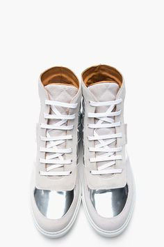 MARC JACOBS Metallic Silver Spring Quilt Sneakers