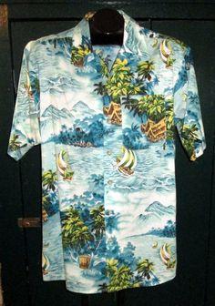 7173e411 Vintage USA Hawaiian Shirt Mens M Collar Loop Outrigger Huts Palm Tree Aqua  Blue Mens Hawaiian