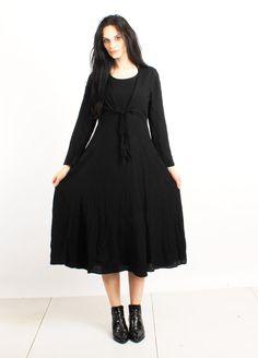 Vintage 90's Black Long Sleeve Grunge Maxi Dress Size S by Ramaci