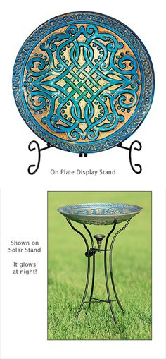 New for Spring - Glass Celtic Knot Bowl, with plate display stand or solar display stand!