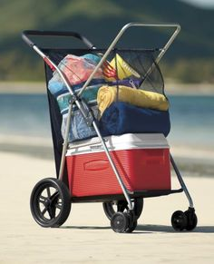 Wonder Wheeler Deluxe Beach Cart from One Step Ahead | 2Q30055. - Might be cheaper to get one of those old lady carts for $20...