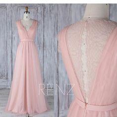 Bridesmaid Dress Blush Pink V Neck Tulle Wedding Dress,Key Hole Illusion Lace Back Long Prom Dress,Sleeveless Maxi Dress Full Length(HS487)