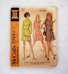 Vintage McCall's sewing pattern 2264 size 16 uncut 1970 skirt blouse pattern by ResourcefulGoods on Etsy