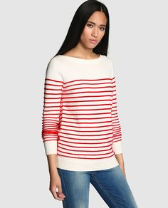 Jersey de mujer Tommy Hilfiger de manga larga y rayas en rojo