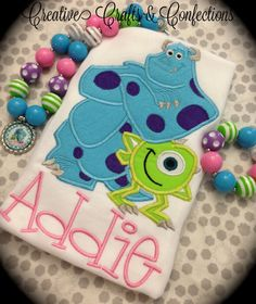 Monsters Inc Inspired T Shirt- Appliqué- Mike and Sully- Infant, Toddler, Girls, Boys- Personalized with Choice of Colors and Accessories on Etsy, $30.00