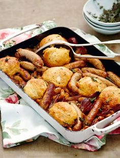 Sarah Graham's slow-cooked chicken and chorizo cassoulet with thyme and gruyère dumplings http://www.eatout.co.za/recipe/sarah-grahams-slow-cooked-chicken-chorizo-cassoulet-thyme-gruyere-dumplings/