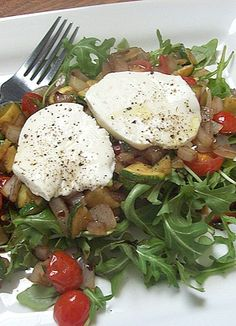 Repinned: Warm Italian Salad with Fresh Mozzarella over Arugula