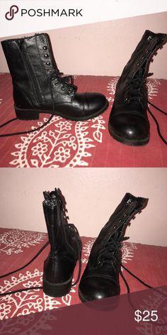 Black combat boots Black lace up combat boots Charlotte Russe Shoes Combat & Moto Boots