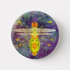 Old worn style button with wasp design