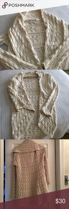 Cabi sweater Cream cotton cozy sweater. Open knit. Shawl collar CAbi Sweaters Cardigans