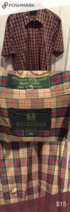 Nordstrom Plaid Men's Shirt Great colors Nordstrom Shirts Casual Button Down Shirts