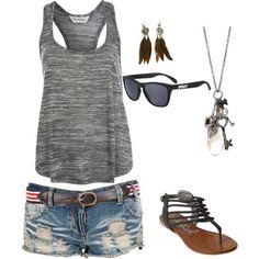 gray racer-back tank, denim shorts, strappy gladiator sandals  silver charm necklace