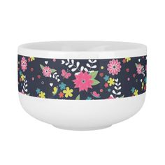 Cute trendy girly vibrant floral pattern soup bowl with handle